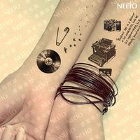 $2 temporary tattoo   reminisced camera typing machine windmill pin waterproof  tattoos stickers body art  tattoo sticker
