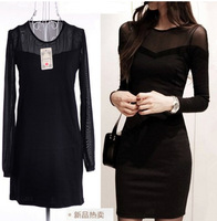 2014new summer womens sexy perspective gauze stitching round neck long sleeve dress european fashion bag hip black party dresses