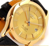 Mens Gold Luxury Leather Automatic Mechanical Watches with date Time Winner Wrist Watch Tagbusiness Free ship