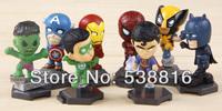 Free Shipping The Avengers Superman Ironman Spiderman Hulk PVC action Figure Toys 8 pcs/set For kids