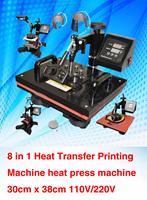 110V,220V Plate/Mug/Cap/TShirt heat press,heat transfer machine,Sublimation machine,mini digital 8 In 1 Combo Heat Press Machine