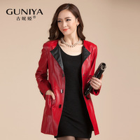 Leather clothing 2013 autumn genuine leather clothing female medium-long sheepskin single trench outerwear female