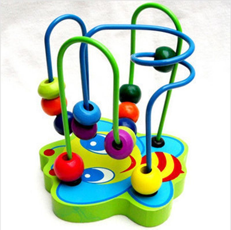 Colorful Educational game Mini Baby wooden toy around the beads Wire maze(China (Mainland))