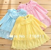 4 pcs/lot-2014 Spring new sweet delicate lace lapel crochet gauze skirt T-shirt bottoming shirt for girls 323#