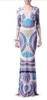 Women's 2014 Luxury Brands Jersey Silk Dress Long Sleeves Print Bodycon Spandex Stretch long Cocktail Dress