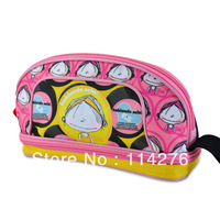 Fashion pink cute cartoon print two layer pencil case, multifunctional pencil bag for school supplies SO-240
