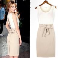2014 summer Free shipping fashion slotted back Sleeveless O-Neck patchwork women chiffon dress with Bow belt  S-XL pluz size