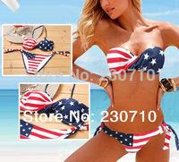Free Shipping,2014 USA Flag Pattern Bikini,Printing Bikini Swimwear, Fashion Bathing Suit,Women Beach Swimsuit  FZ 226