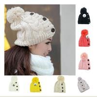 New 2013 Winter Cap Women Warm Woolen Knitted Fashion Hat For Gilrs Jonadab Button Twisted Beanie Woman Cap Accessories JP122703
