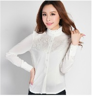 [S989]Autumn 2013 Slim Korean professional women blouse shirt long-sleeved shirt Korean OL ladies flounced lace collar shirt