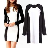 [S-1197] 2013 new Fashion Ladies' elegant Black and white Mini Dresses Long sleeve sexy evening party prom Vintage cascul slim