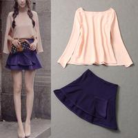 Free shipping! European Fashion women's 2013 fashion sweet cloak pink top purple half-skirt set