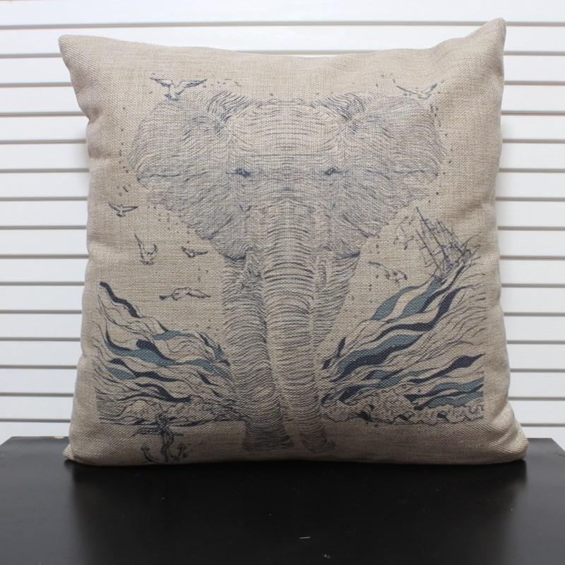"""Frete grátis capa de linho de alta qualidade tampa sofá impressão almofada / travesseiro """"Elefante"""" 45 * 45 centímetros(China (Mainland))"""