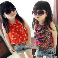 Baby girls T-shirts kids children vest candy chiffon dot tank t shirt Girls tee shirts 1127 sylvia 1164984604