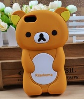Luxury Silicon Rilakkuma Design Silicone Back Cover Case For iPhone 6 Plus and 6 5 5S 5C 4 4S (Brown)