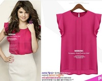 [S-1015] 2013 Summer new European and American Fashion short-sleeved round neck Feifei Sleeve chiffon shirt