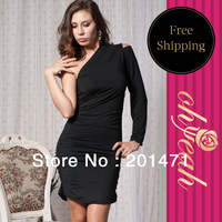 Free Shipping One-Shoulder  Dress Evening Dress Black Sexy Dress Sheath Dress High Fashion R7352