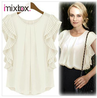Spring Summer Blouses Womens Fold Short Sleeved Chiffon Shirts Blouses W4302