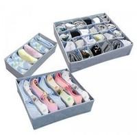 3 pcs/set Bamboo Fiber bra underwear storage box shorts storage box (CQ)