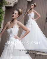 Stunning White Wedding Dresses 2014 A Line Strapless Sweep Train Applique Organza Lace Up Bridal Gowns yk8R304