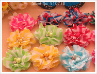 120pcs flower accessories for hair baby shabby chic flower with diamond center for hairband headbands