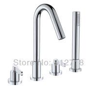 Deck mounted bathroom 4pcs Shower Faucet  Set chrome polished finish  mixer tap+handshower 122047