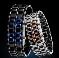 Fashion Men Women Lava Iron Samurai Metal LED Faceless Wristwatch chain waterproof personality lovers bracelet watch for Gift