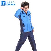 2013 children's sport sets autumn winter children clothing suits large children plus velvet thickening outdoor jacket