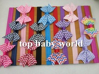 "2.5"" Chevron Print bows elastic headbands hair bow hairband baby girls kids hair accessories Chevron Bow for baby 33pcs/lot"
