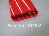 Red transparent plastic back housing for iphone 5s battery cover frame for iphone5s free shipping
