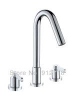 3pcs bathroom Shower Set chrome polished finish Deck mounted mixer tap+handshower 122049