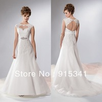2014 Newly Arrivals A-line Scoop Neck Appliques Cap Sleeves Open Back Organza Wedding Dress Beaded Belt Free Shipping