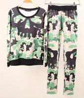 harajuku Listing clothing Set skull 3D Print womens Sport Suit Sweater Sweatshirt sportswear women hoody Hoodie Free shipping