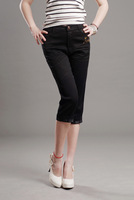 2013 women's straight denim capris high in the waist elastic padded plus size 1521