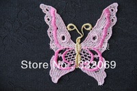 Free Shipping Cheap DIY Colored Butterfly Embroidery Lace Patches Applique for Clothes Decoration Home Decor 9*9cm