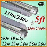 25pcs/lot t8 led tube1500mm 22w 23w 24w 25w 26w led fluorescent lamp tube led 5630 110v/240v 5ft light bulb free shiping