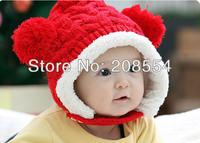 8pcs/lot baby boys girls double ball with velvet earmuffs autumn winter wool hat cap to keep warm d11