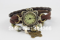 High Quality Women Genuine Leather copper Vintage Watch bracelet Wristwatches butterfly Free shipping 100pcs/lot for Christmas