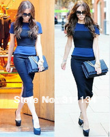 Min.order is$10(mix order)Free Shipping New arrival High quality new arrival fashion star t colorant match slim one-piece dress