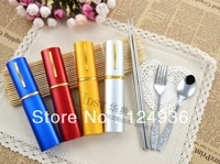 Portable cutlery box stainless steel chopsticks travel child tableware dinnerware set spoon knife and fork