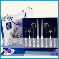 Blue and white porcelain dinnerware set stainless steel chopsticks ceramic tableware coffee spoon t. spoon