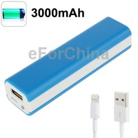 Blue Portable Emergency 18650 3.7V 3000mAh Battery Mobile Phone Travel Charger for iPhone 5 5C 5S Samsung Galaxy S4 S3 HTC One