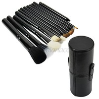5sets/lot Wholesale New Cosmetic Makeup Brush Set tools Make-up Toiletry Kit + Leather Cup Holder 12 pcs/Set 4 colors 16475