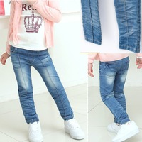 children trousers 2014 spring child girls jeans kids elastic skinny pants trousers free shipping