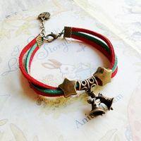 Christmas day zakka birthday gift bell two-color deerskin rope lovers honey bracelet