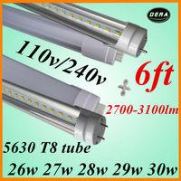 factory outlet 25pcs t8 led tube1800mm 26w 27w 28w 29w 30w led fluorescent lamp 110v/240v led 5630 6ft light bulb free shiping