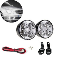 2x 4 LED Round DRL Daytime Running Driving Auto Car Fog Light Lamps Bulb Kit Set  Freeshipping&Wholesale