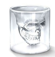 Free shipping wholesale and retail novelty hot Doomed Crystal Skull Shot double wall glass mug cups, wiskey / wine/ beer cups