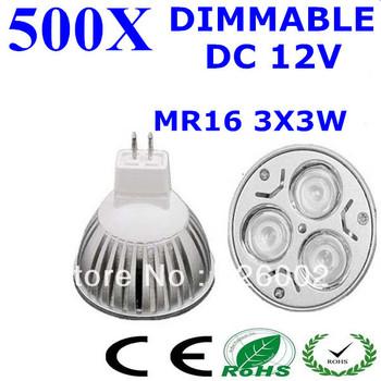 500pcs High power CREE MR16 GU5.3 GU10 3x3W 9W 12V Dimmable LED Light