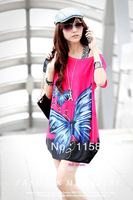 free shipping new 2014 pink love butterfly character casual long fashion T-shirt vs for women blouses summer retro famous sexy